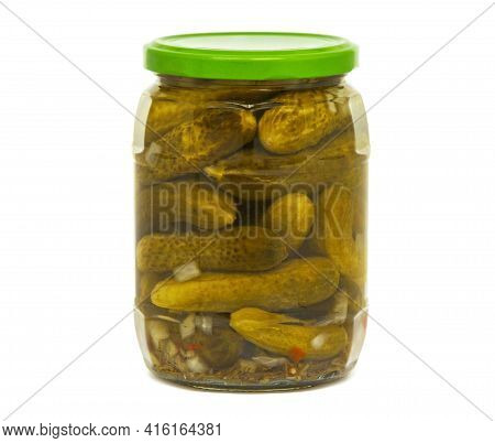 Pickles In A Glass Jar Isolated On A White Background