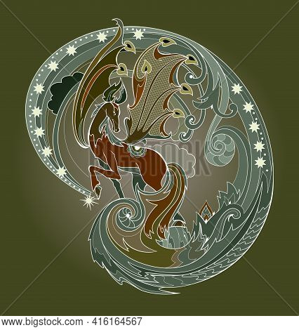 Illustration Of Fantasy Ancient Greek Horse Pegasus With Wings From Fairyland Legend. Print For Fabr