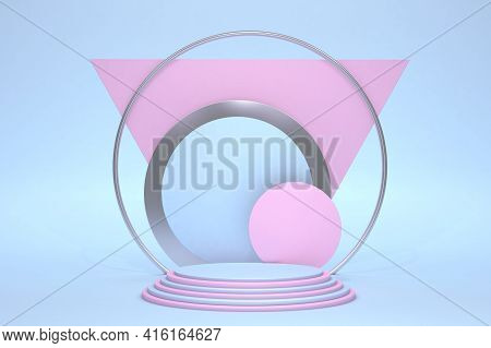 Minimal Pink And Blue Scene With Podium Isolated On Pastel Background. Geometric Shapes. Minimal 3d