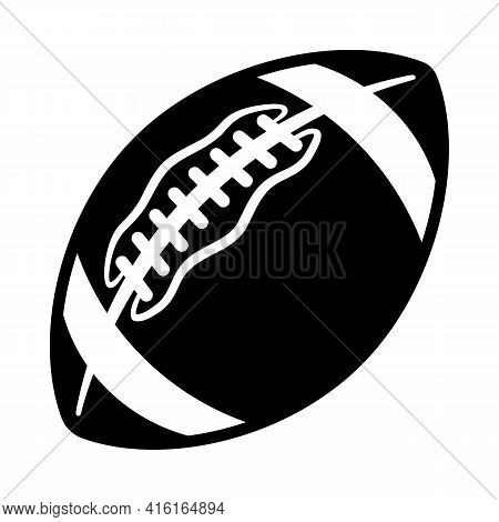 American Football Super Bowl Ball Silhouette Vector Illustration Isolated On White Background. Ideal