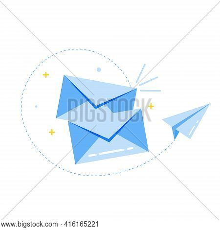Vector Envelope Icon And Paper Airplane. The Postal Envelope Is Blue. Illustration Of An Envelope In