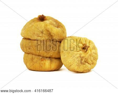 Pile Of Dried Figs Isolated On White