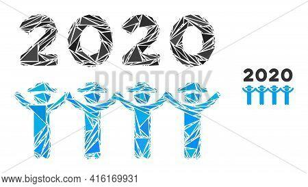Triangle Mosaic 2020 Gentlemen Dance Icon. 2020 Gentlemen Dance Vector Mosaic Icon Of Triangle Eleme