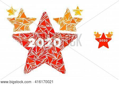 Triangle Mosaic 2020 Stars Hit Parade Icon. 2020 Stars Hit Parade Vector Mosaic Icon Of Triangle Ite