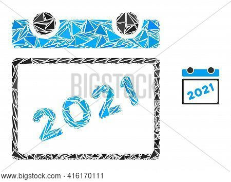 Triangle Mosaic 2021 Calendar Leaf Icon. 2021 Calendar Leaf Vector Mosaic Icon Of Triangle Items Whi