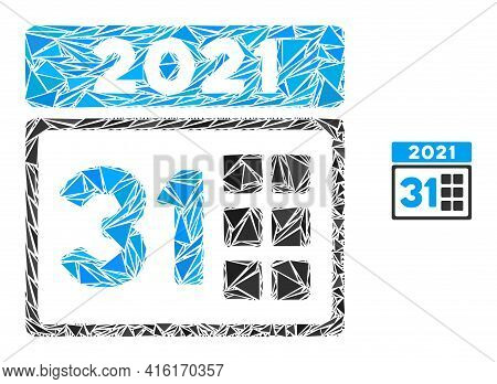 Triangle Mosaic 2021 Last Day Icon. 2021 Last Day Vector Mosaic Icon Of Triangle Items Which Have Va