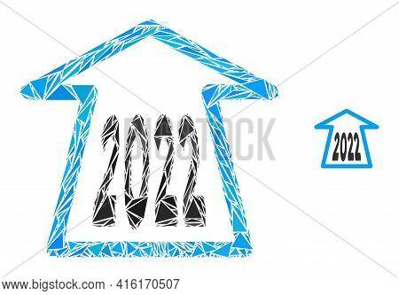 Triangle Mosaic 2022 Ahead Arrow Icon. 2022 Ahead Arrow Vector Mosaic Icon Of Triangle Elements Whic