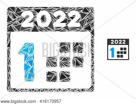 Triangle Mosaic 2022 First Day Icon. 2022 First Day Vector Mosaic Icon Of Triangle Elements Which Ha