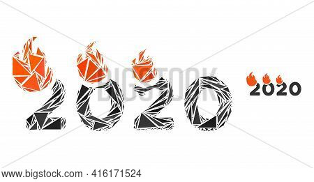 Triangle Mosaic Fired 2020 Year Icon. Fired 2020 Year Vector Mosaic Icon Of Triangle Elements Which