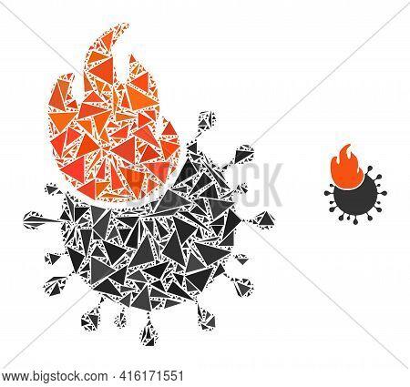 Triangle Mosaic Fired Coronavirus Icon. Fired Coronavirus Vector Mosaic Icon Of Triangle Items Which
