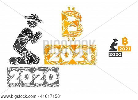 Triangle Mosaic Gentleman Pray Bitcoin 2021 Icon. Gentleman Pray Bitcoin 2021 Vector Mosaic Icon Of