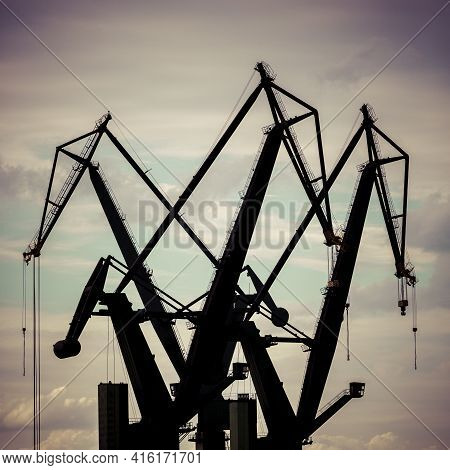 Gdansk, Poland - 18/09/2013: Industrial View Massive Cranes In The Shipyards In Gdansk, Poland.
