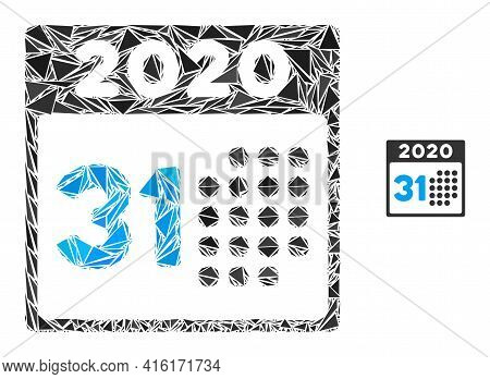 Triangle Mosaic Last 2020 Day Icon. Last 2020 Day Vector Mosaic Icon Of Triangle Items Which Have Di