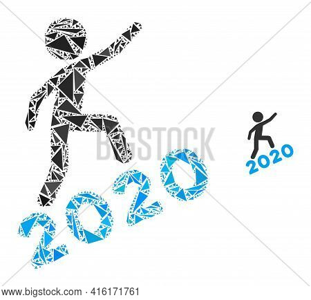 Triangle Mosaic Man Climbing 2020 Icon. Man Climbing 2020 Vector Mosaic Icon Of Triangle Items Which