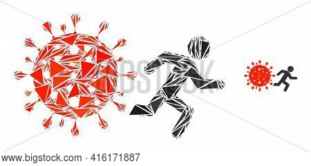 Triangle Mosaic Man Run Away Covid Icon. Man Run Away Covid Vector Mosaic Icon Of Triangle Elements