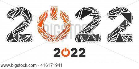Triangle Mosaic Start 2022 Caption Icon. Start 2022 Caption Vector Mosaic Icon Of Triangle Items Whi
