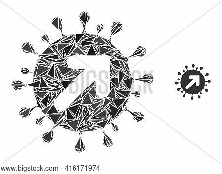 Triangle Mosaic Virus Vector Icon. Virus Vector Mosaic Icon Of Triangle Items Which Have Different S