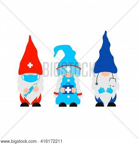 Cute Cartoon Medical Gnomes. Funny Nurse And Doctors Characters . Vector Template For Banner, Poster