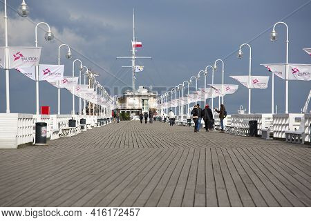 Sopot, Poland, April 26: Unidentified People Walking On The Sopot Pier Built In 1827. At 511m, The P