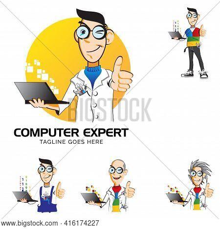 Computer Expert Mascot Symbol Vector Illustration Set