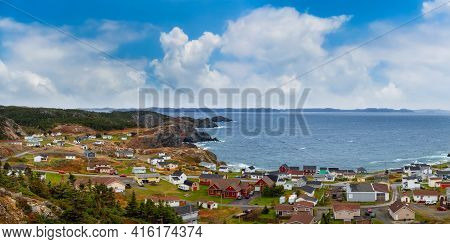 Panoramic View Of A Small Town On The Atlantic Ocean Coast. Colorful Blue Sky Art Render. Taken In C