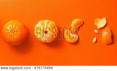 Tangerines On An Orange Background: Whole, Peeled, Wedges And Peels. Flat Lay, Banner