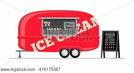 Ice Cream Truck. Mobile Triler. Cartoon Vector Illustration Isolated On White Background.