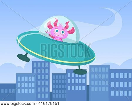 Cartoon Funny Monster Travelling In Flying Saucer. Flat Vector Illustration. Cute Colorful Creature