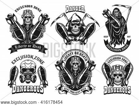 Vintage Badges With Skeleton And Bombs Vector Illustration Set. Monochrome Labels With Skeletons Hol