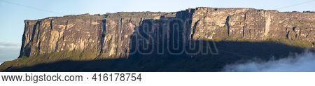 Panorama Of Mount Roraima Or Kukenan Tepui Early In The Morning With Clear Blue Sky And Clouds, Gran