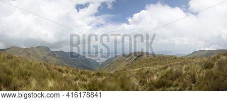 Spectacular Panoramic View Of The Mountain And Quito, The Capital Of Ecuador In The Background.