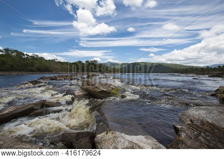 Rapids And Stones In The River Of Canaima National Park During The Dry Season, Venezuela 2015.