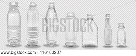 Plastic Bottles Set. Empty Realistic Plastic Bottle. Vector Illustration Of A 3d Transparent Bottle
