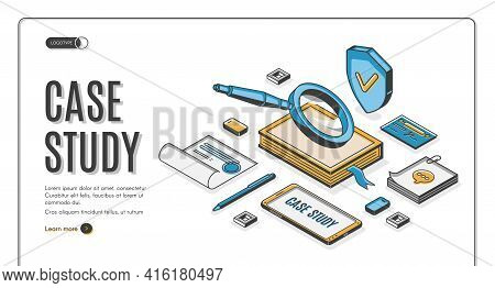Case Study Isometric Web Banner. Business Information Research And Analysis, Magnifying Glass With N