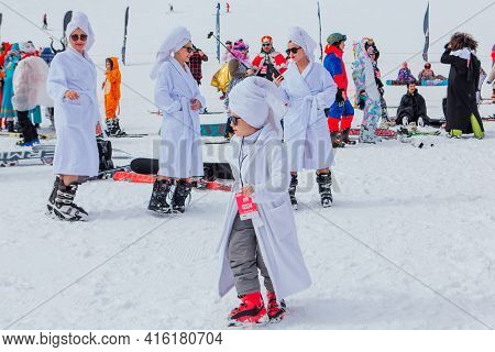 Sheregesh, Kemerovo Region, Russia - April 03, 2021: Grelka Fest In Sheregesh. Young People In Carni