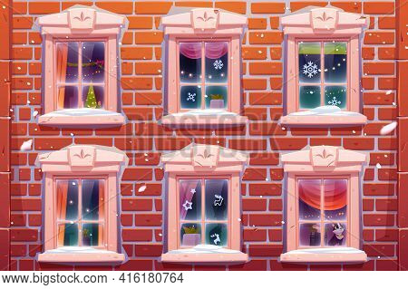 Windows Of House Or Castle With Christmas And New Year Decoration, Brick Wall Facade With Casements