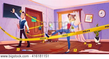 Quest Escape Room With Crime Scene, Man And Woman Searching Exit From Murder Place Fenced With Yello