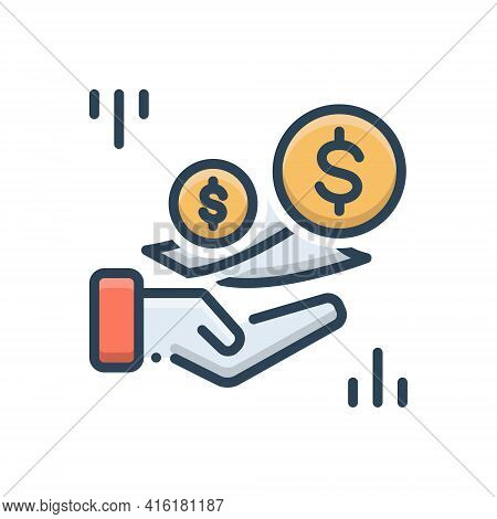 Color Illustration Icon For Fees Charges Costs  Payment Currency Text Wages Living Wage
