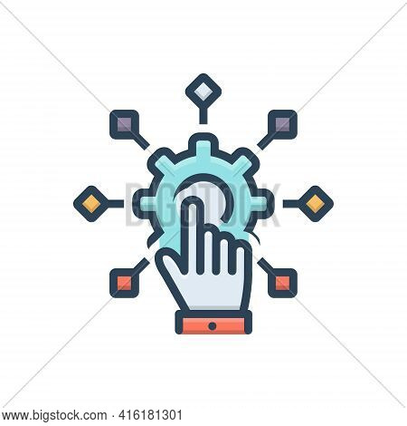 Color Illustration Icon For Adapt Conforming  Change Evolution Hand Setting