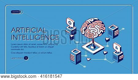 Artificial Intelligence Isometric Landing Page Human Brain Surrounded With Cubic Shape Ai Processor