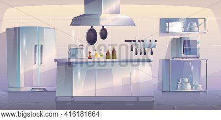 Kitchen In Restaurant, Empty Interior With Appliances For Cooking And Furniture Table, Oven, Range H