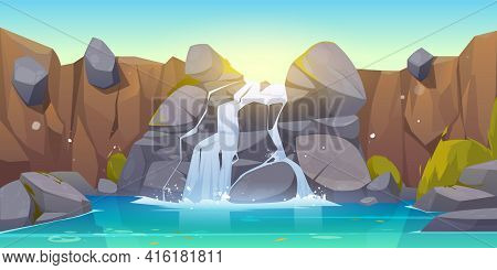 Waterfall Cartoon Illustration. River Stream Flowing Throw Rocks To Mountain Lake. Vector Landscape