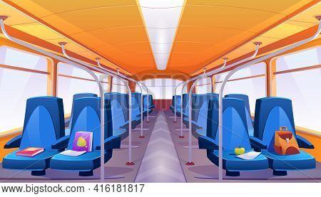 School Bus Interior With Blue Seats. Vector Cartoon Empty Passenger Cabin Of Public City Transport I
