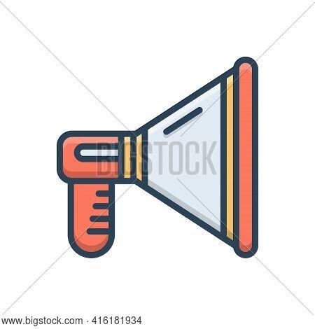 Color Illustration Icon For Promotion Loudspeaker Megaphone Announce Publicity Marketing Announcemen