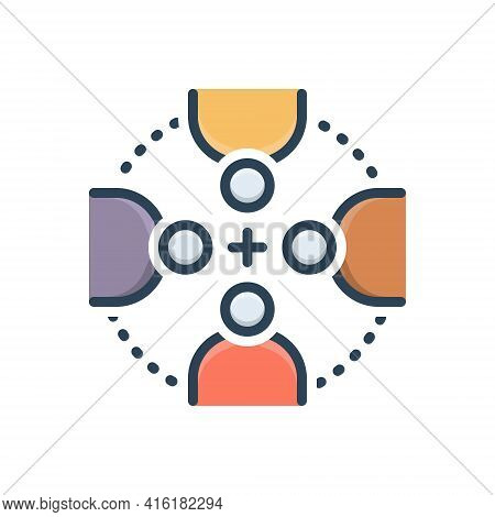 Color Illustration Icon For Everyone  Everybody People Together Group