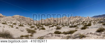 Panorama Of Geological Rock Formations And Arid Lunar Landscape In The Andean Mountains, Close To Ro