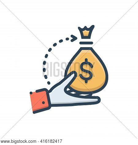 Color Illustration Icon For Borrower Loan Bribery Lender