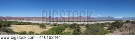 Incredible Panorama Of The Andean Colored Mountains Near Cachi With A Clear Blue Sky. Ruta 40 Within