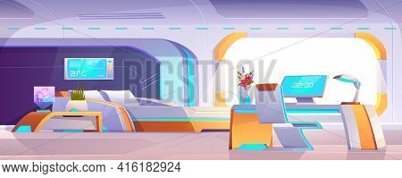 Futuristic Bedroom With Furniture, Empty Apartment Or Space Ship Interior With Neon Glowing Bed, Cha