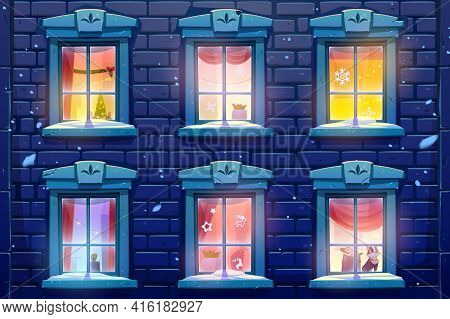 Night Windows Of House Or Castle With Christmas And New Year Decoration, Brick Wall Facade Casements